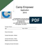 Camp Application 2015