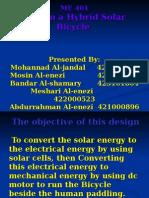 Design a Hybrid Solar Bicycle