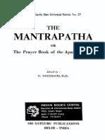 Mantrapatha or Prayer Book of the Apastambins, Winternitz M, 170p, RELIGION. THEOLOGY, English (1985)