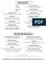 2015-2016 Ventano Dinner Menu