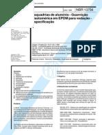 NBR 13756 - Esquadrias de Aluminio - Guarnicao Elastomerica Em EPDM Para Vedacao - Especificacao