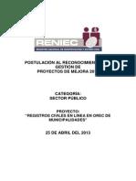 Informe Reniec Registros Civiles en Linea Orec Municipalidades Rgpm2013