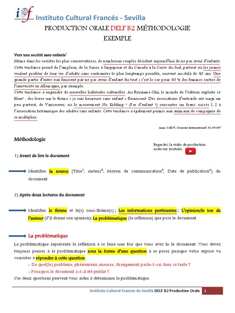 delf b2 francais production oral