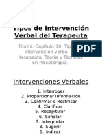 Tipos de Intervención Verbal Del Terapeuta