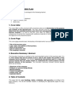 Format of Business Plan