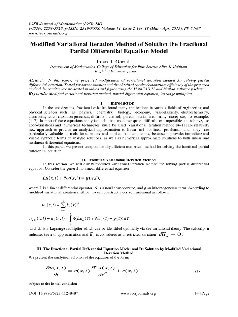 Modified Variational Iteration Method of Solution the
