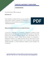 Informe de Auditor Independiente (No Acepta)