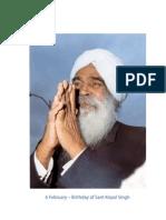 6 February - Birthday of Sant Kirpal Singh