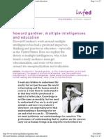 Howard Gardner, Multiple Intelligences and Education