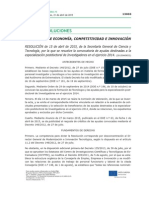 Resolución de Ayudas de Formación Para Tecnólogos e Investigadores 2014