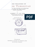 1928 Buried Treasures of Chinese Turkistan by Von Le Coq s