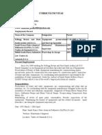 C.V for Mechanical Mantenance Engg/Supervisor