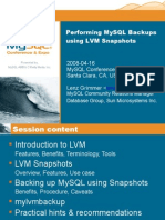 Performing MySQL Backups using LVM Snapshots