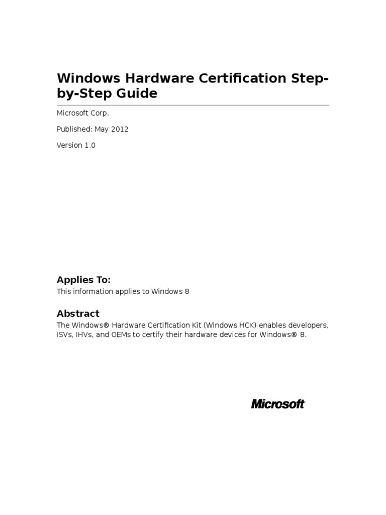 Hardware Certification Step by Step Guide | Microsoft Windows ...