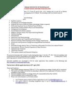 Summer Internship Advt 2015