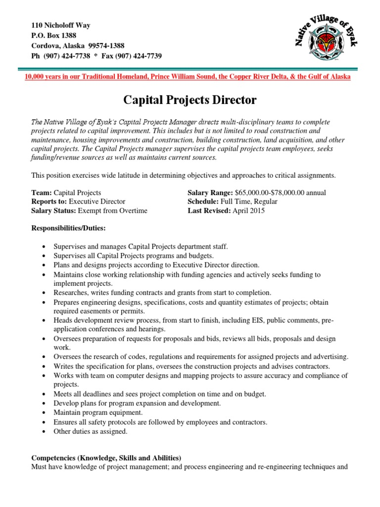 NVE Capital Projects Director pdf | Project Management (17