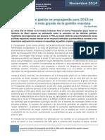 El Aumento de Gastos en Propaganda Para 2015 en Caba Sera El Mas Grande de La Gestion Macrista - Aixa Ratta