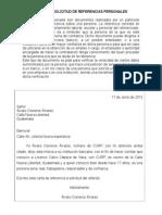 Carta de Solicitud de Referencias Personales