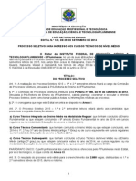 EDITAL No 132 de 2015 - Processo Seletivo Tecnicos Regulares