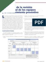 Integración de la revisión de sGguridad de los equipos  y el mantenimiento preventivo