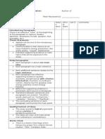 peer feedback checklist (essay