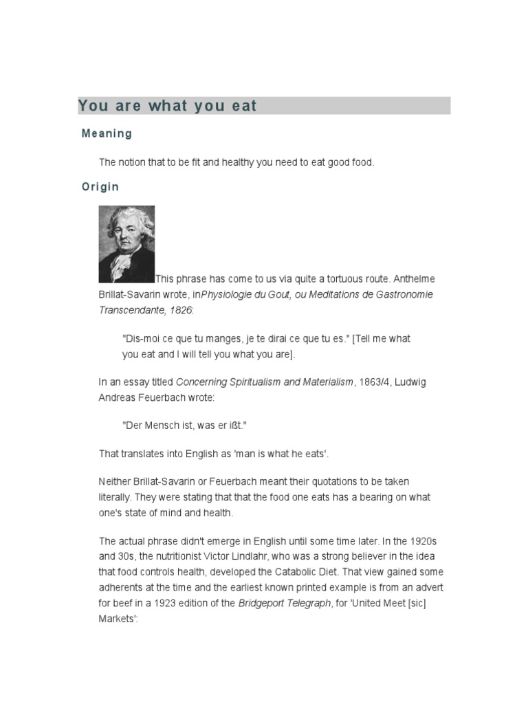 you are what you eat essay