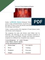Renal disease (Acute & Chronic) Symptoms and Diagnosis