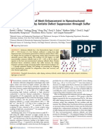 (2012 Nano Lett) Seebeck and Figure of Merit Enhancement in Nanostructued Antimony Telluride by Antisite Defect Suppression Through Sulfer Doping