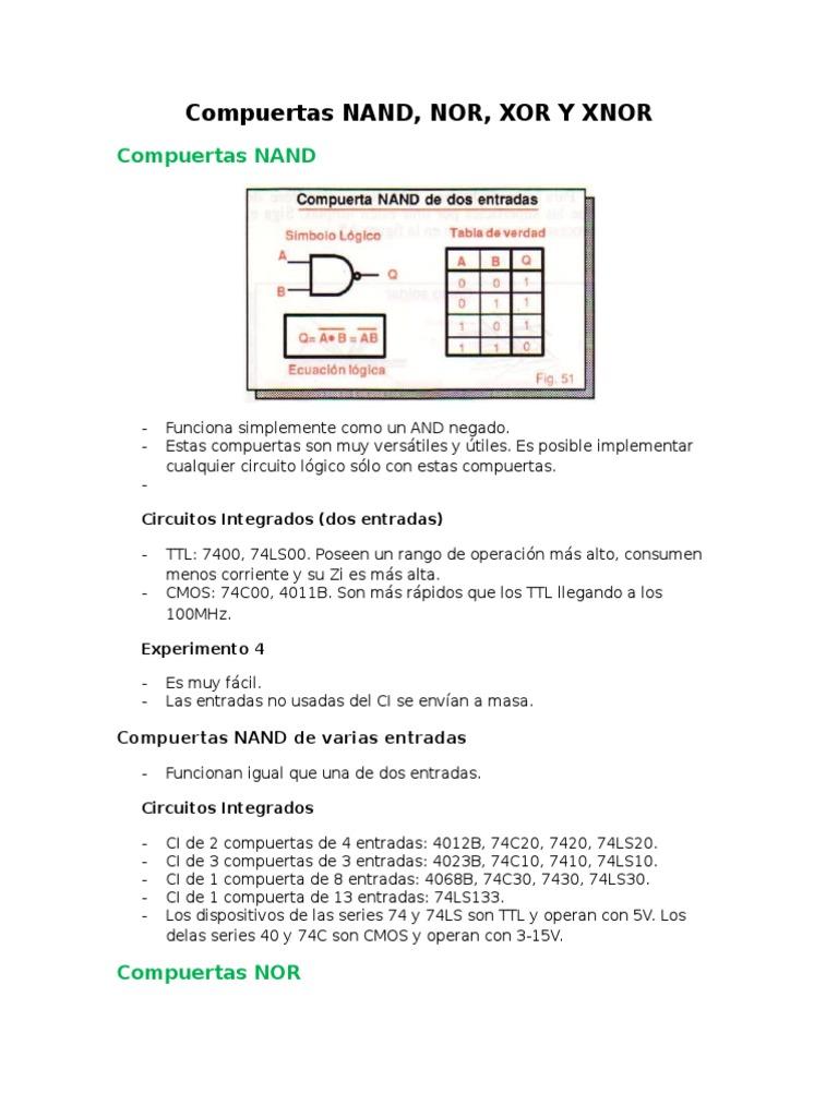 Circuito Xnor : 5 compuertas nand nor xor y xnor