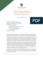 Apresentação Dos Principais Resultados Do Inquérito à Literacia Financeira