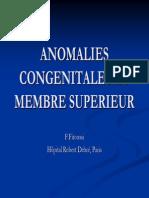 3-1 Anomalies Congénitales du membre supérieur - Pr FITOUSSI