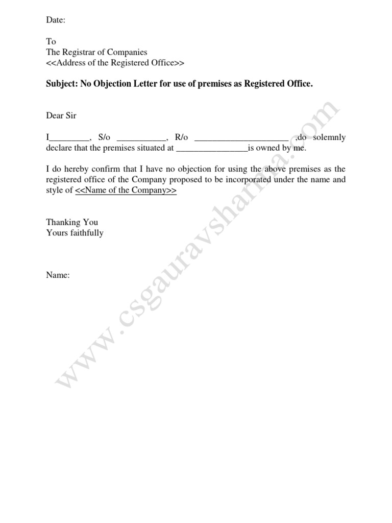 No Objection Letter for Use of Premises as Registered Office.