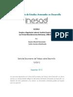 Empleo y Regulación Laboral Análisis Empírico de Las Firmas Manufactureras Bolivianas, 1988-2007