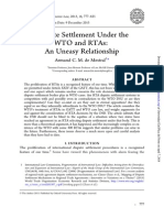 De Mestral, Armand CM - Dispute Settlement Unde the WTO and RTA - An Uneasy Relationship (2013)