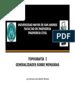 GESTION 2015 Tema 1, Generalidades de Mensuras Topo I