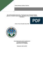 Guía de Aprendizaje, Prevención y  Conservación de la Salud de la Familia, aplicada  en Instituto Telesecundaria, aldea Buena Vista Las Flores, Catarina, San Marcos