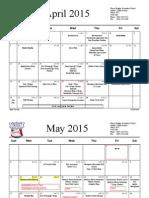 April June calendar pre-engineering