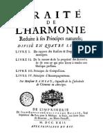 Rameau - Trait de l'Harmonie Reduite a Ses Principes Naturels 1722