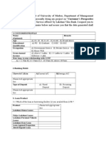Retail Banking And its pdts service questionnaire