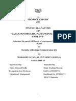 """FINANCIAL ANALYSIS OF """"BAJAJ MOTORS LTD., NARSINGPUR, GURGAON, HARYANA"""""""