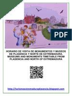Horarios Monumentos Plasencia Primavera-Verano.2015