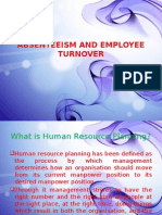 Absenteeism and Employee Turnover Ppt