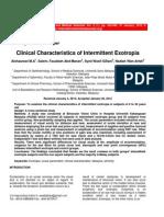 Clinical Characteristics of Intermittent Exotropia(1)