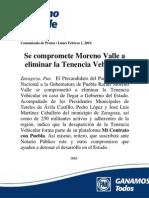 Moreno Valle se Compromete a eliminar la Tenencia