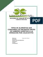 Monografía Tipos de Alimentos Que Consumen Los Pacientes Antes Someterse a Una Operación