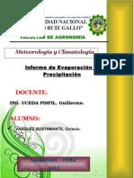Evaporación y Precipitación - Informe