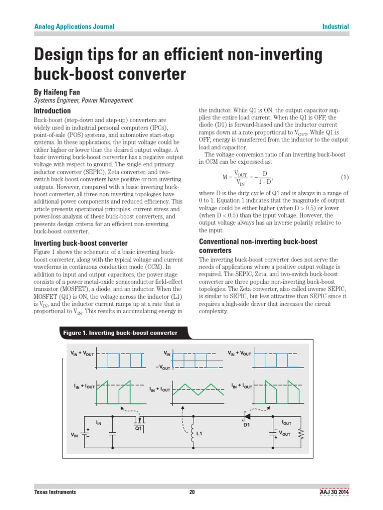 Design Tips For An Efficient Non Inverting Electrical Engineering Boost Converter Circuit Electronic