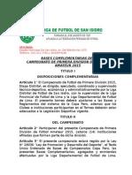 BASES COMPLEMENTARIAS 2015 Liga Distrital de Fútbol de San Isidro