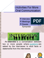 Speech Activities for More Effective Oral Communication