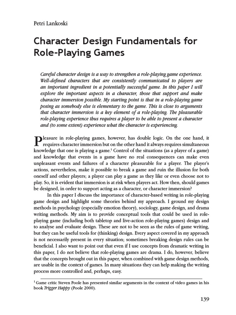 Character Design Fundamentals For Role Playing Games Self - Character design document